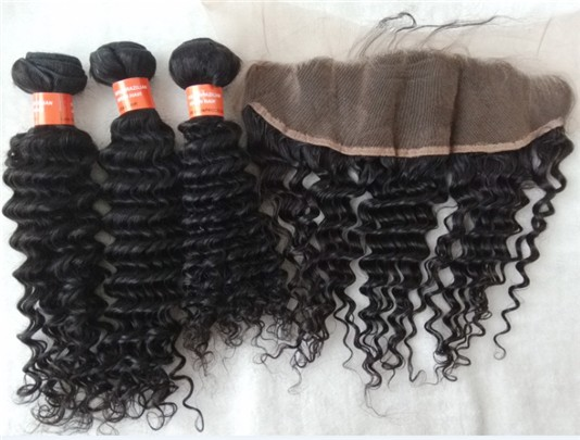 Brazilian virgin deep wave hair wefts