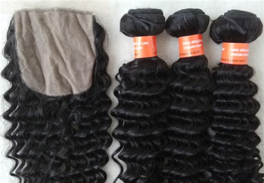 Brazilian virgin deep wave wefts bundles