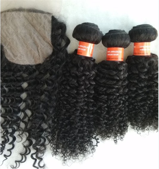 Brazilian virgin curly wefts bundles
