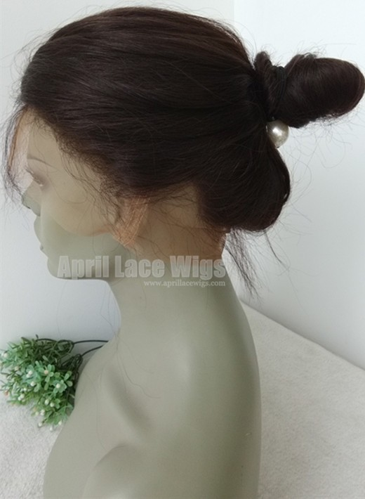 Brazilian straight 360 frontal bun