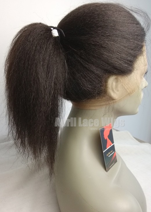 Italian Yaki 360 Frontal Indian Remy Human Hair Bleached Knots