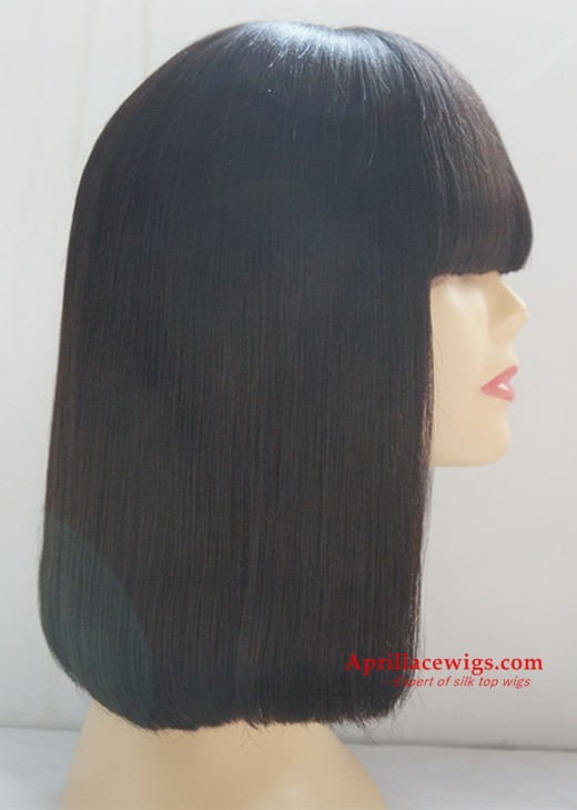 Blunt cut bob hair with bangs