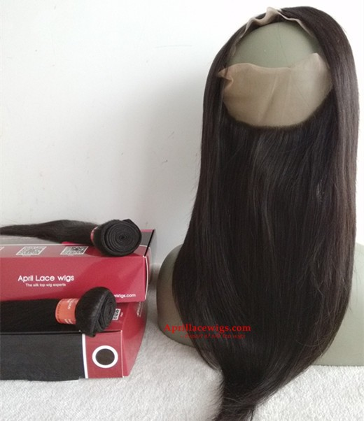 Brazilian straight 360 frontal and 2 bundles