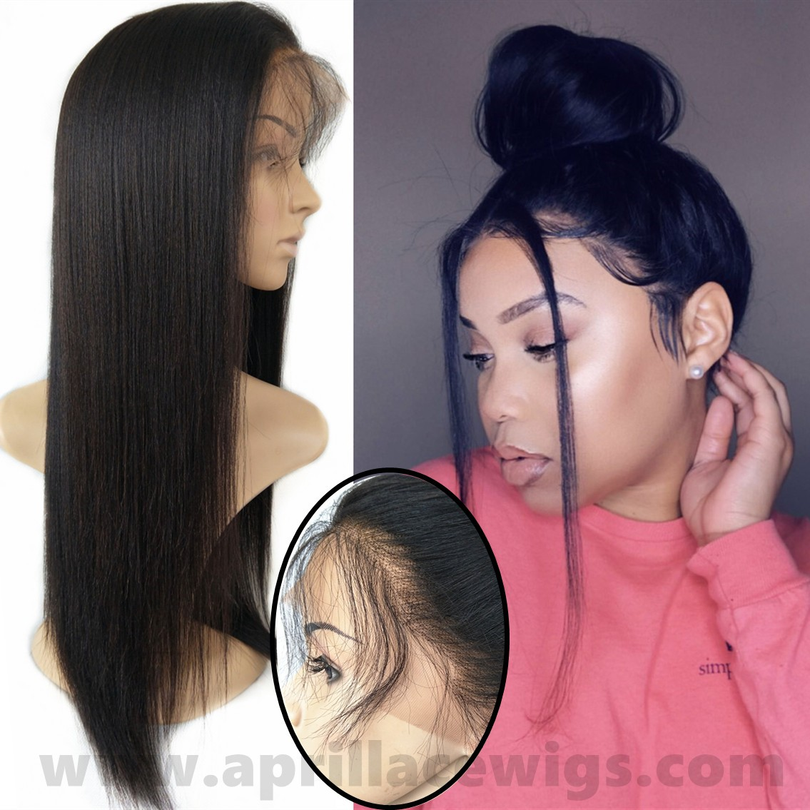 Chinese virgin light yaki 360 wig