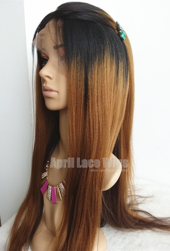 Virgin hair three-tones ombre color silk top human hair wig