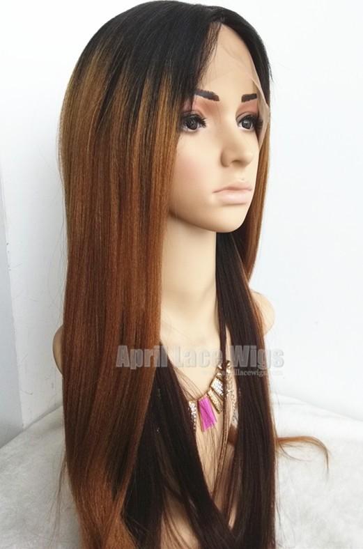 Virgin hair three-tones ombre color silk top human hair wig