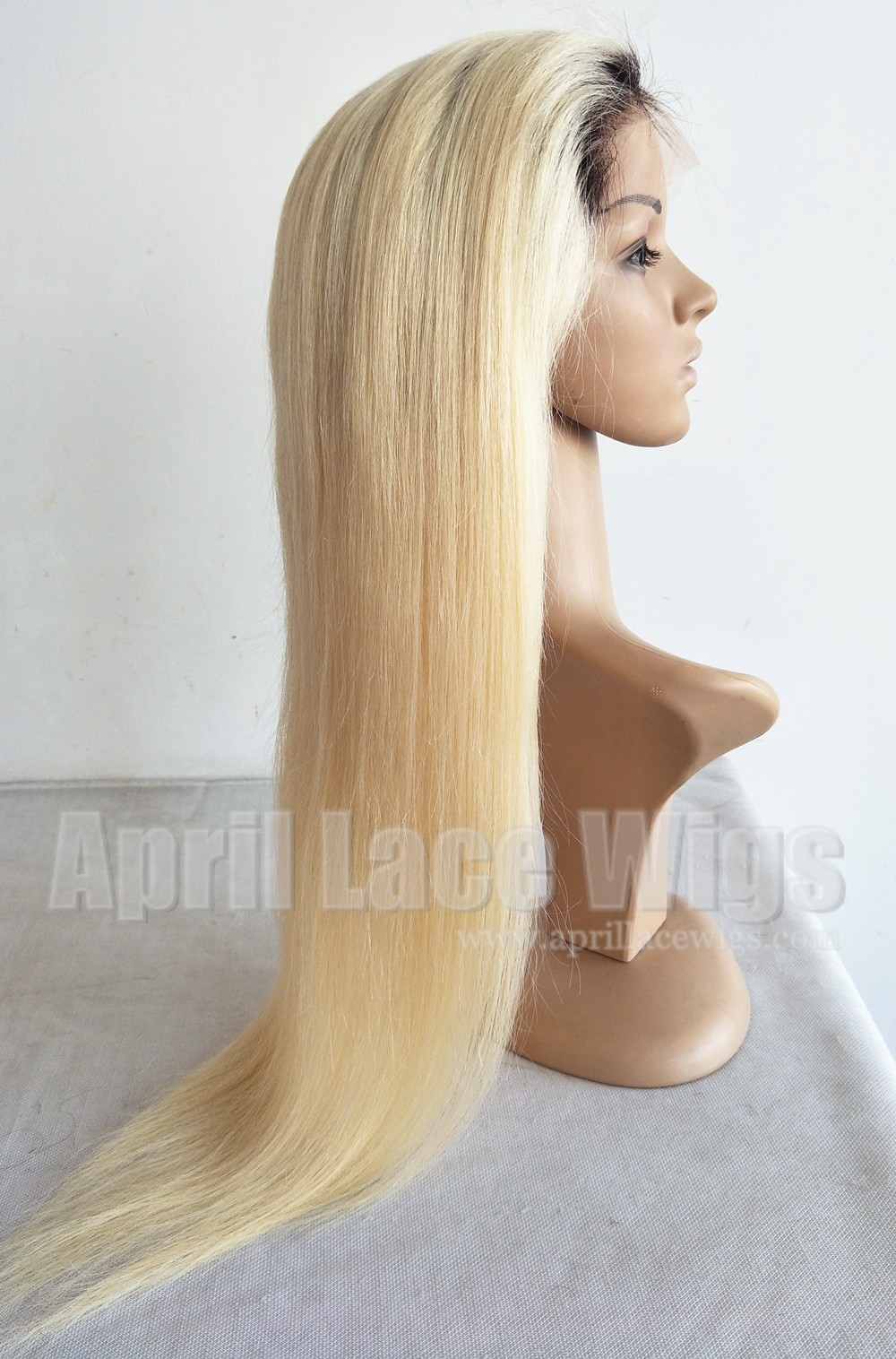 Dark roots fade into color 613 ombre color straight full lace wig