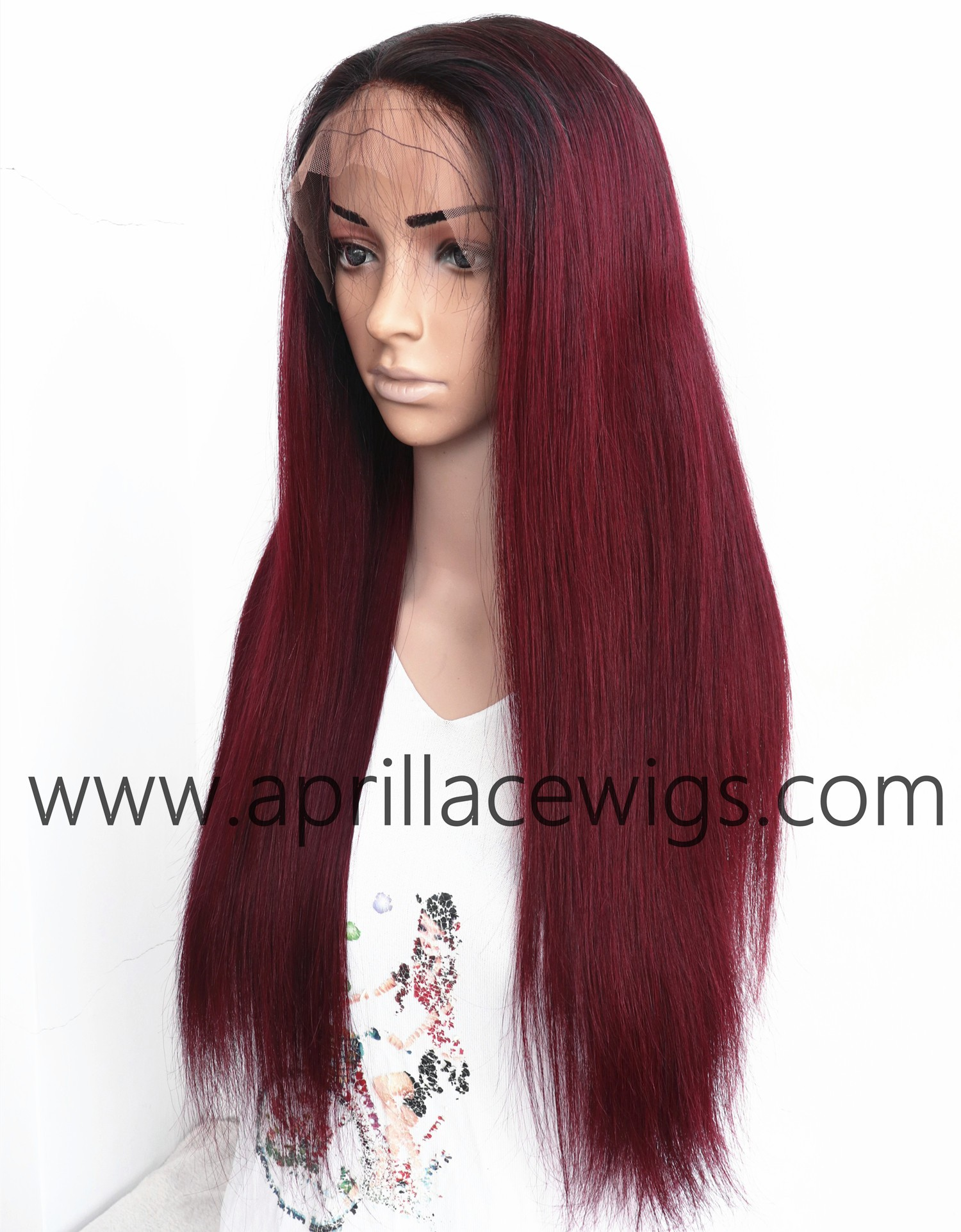 Malaysian virgin straight Ombre Burgundy full lace human hair wig