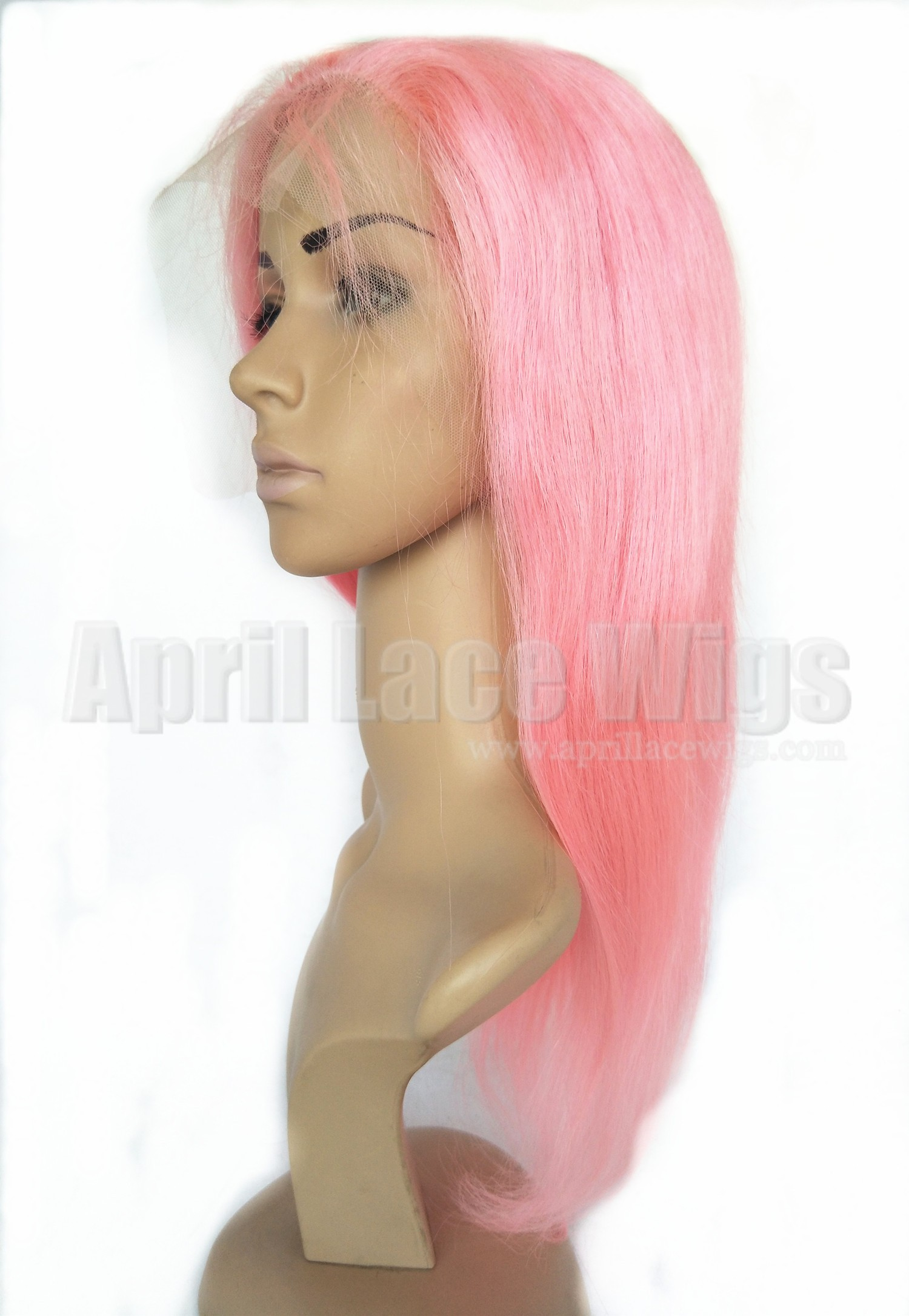 Pink hair glueless lace front wig with silk top