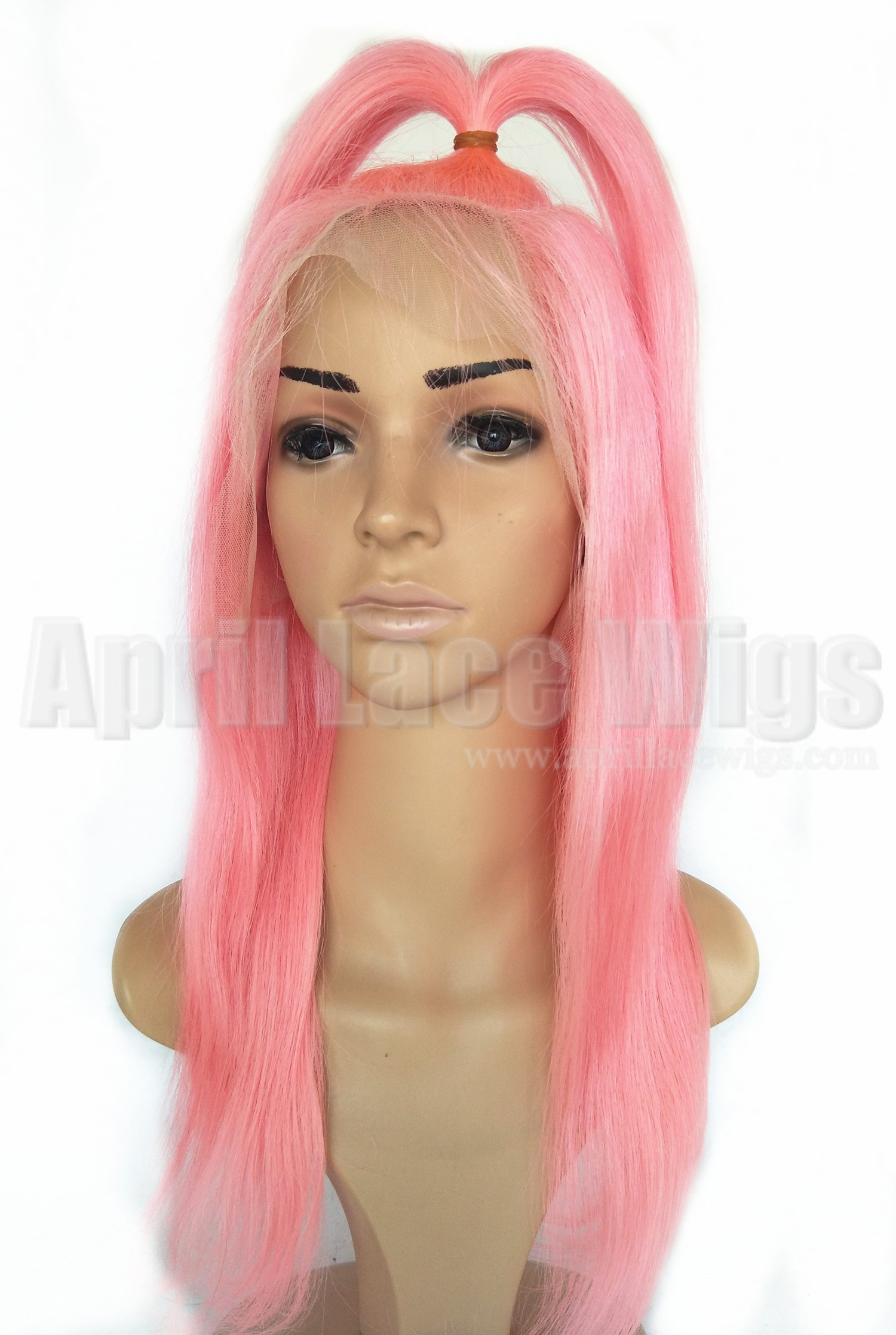 Pink hair glueless lace front wig with silk top ponytail