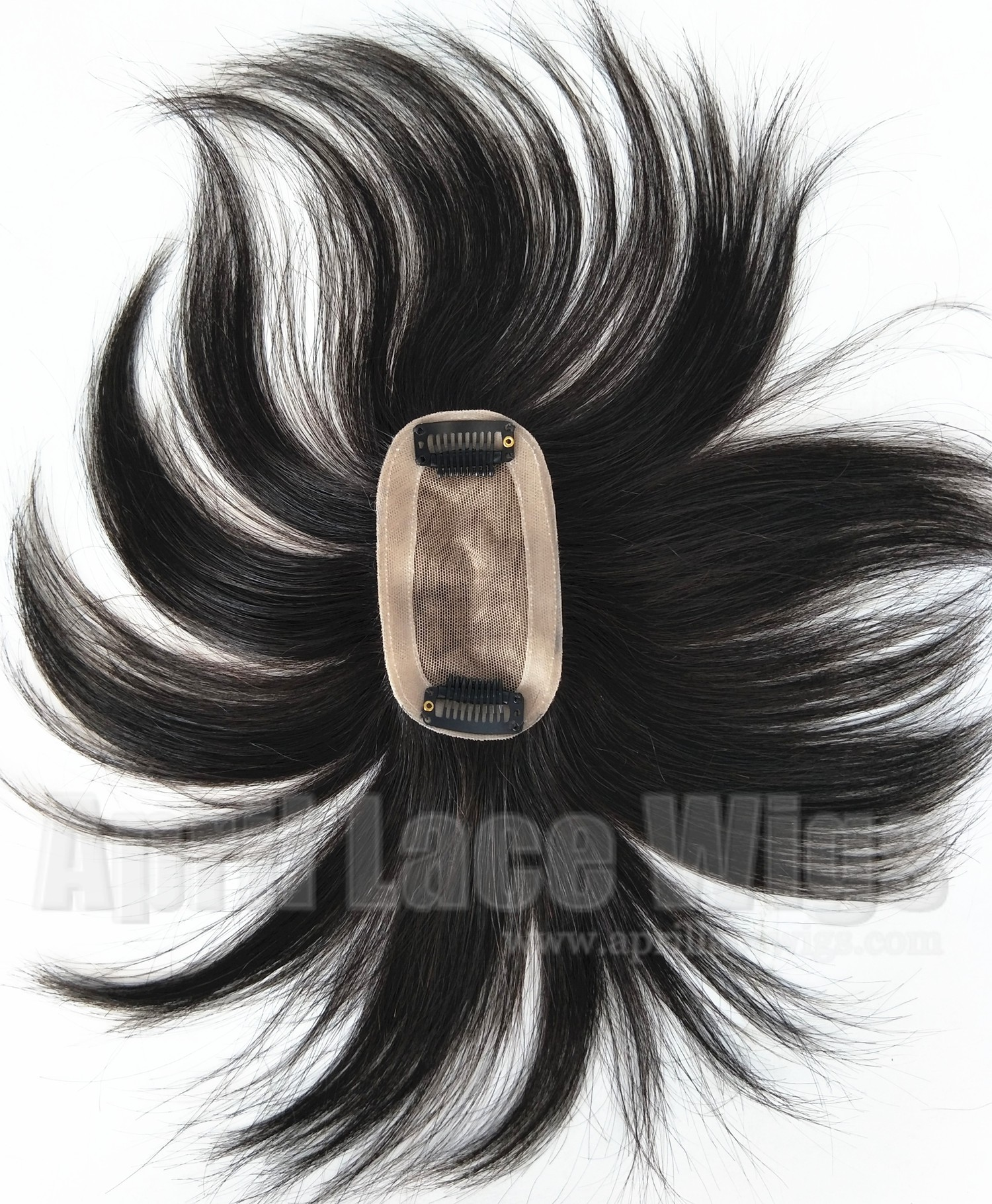 Poly PU around straight hair oval silk top topper with clips