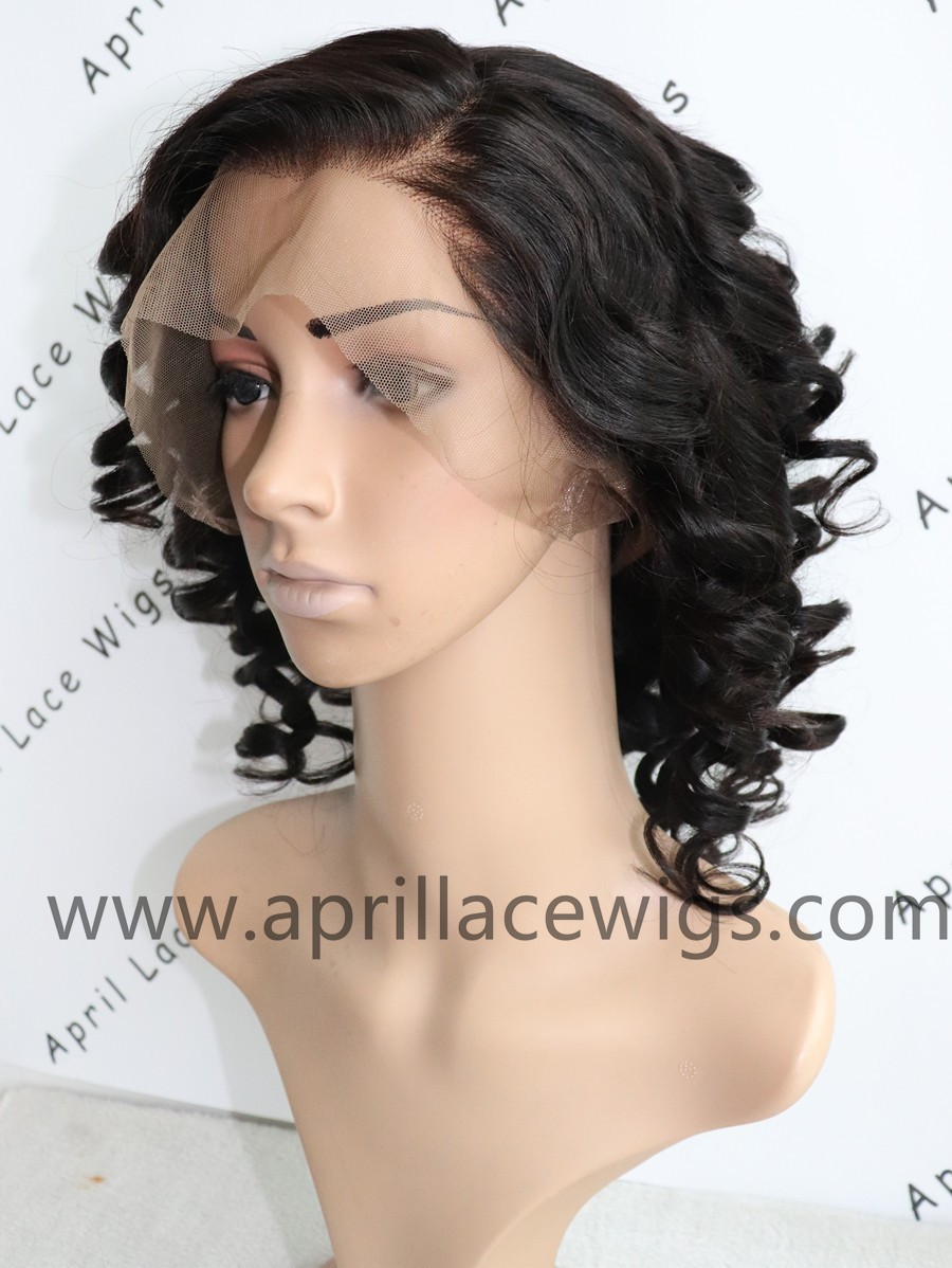 Malaysian virgin bob wave 360 frontal wig