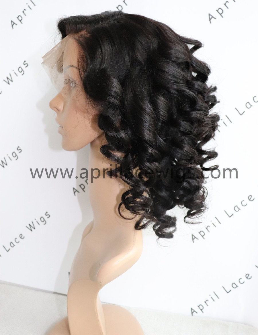 Malaysian virgin bob wave 360 frontal wig gluless