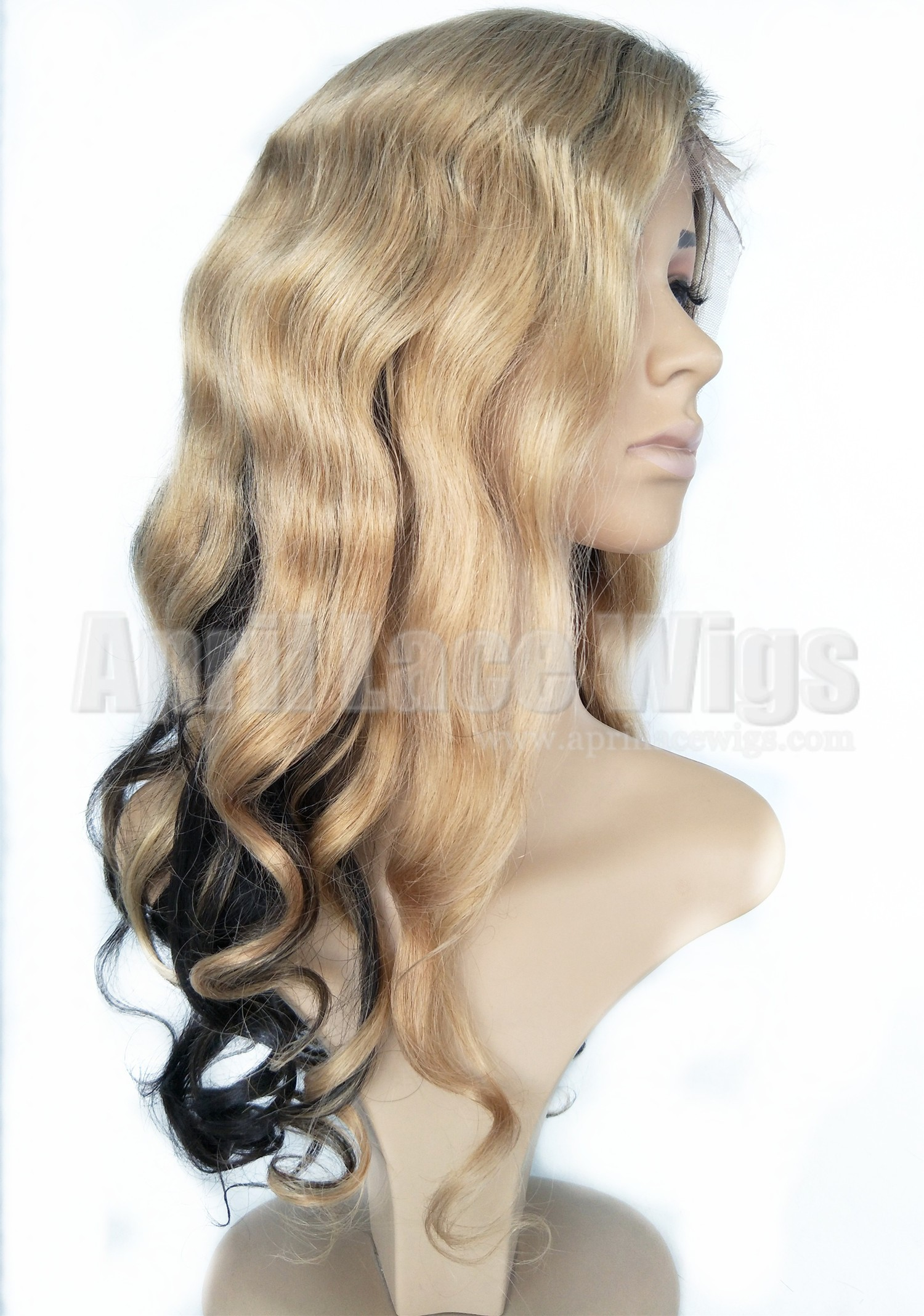 Virgin hair two tone beyonce wave hair glueless full lace wig with 2x4 silk top wig on sale