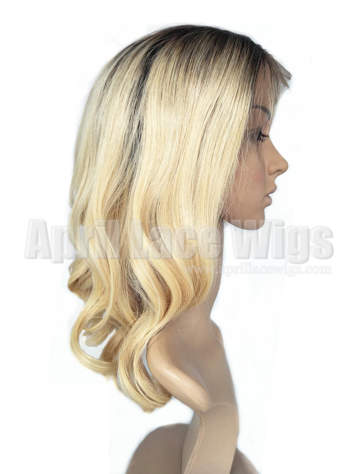 Ombre blonde color wavy bob lace front wig