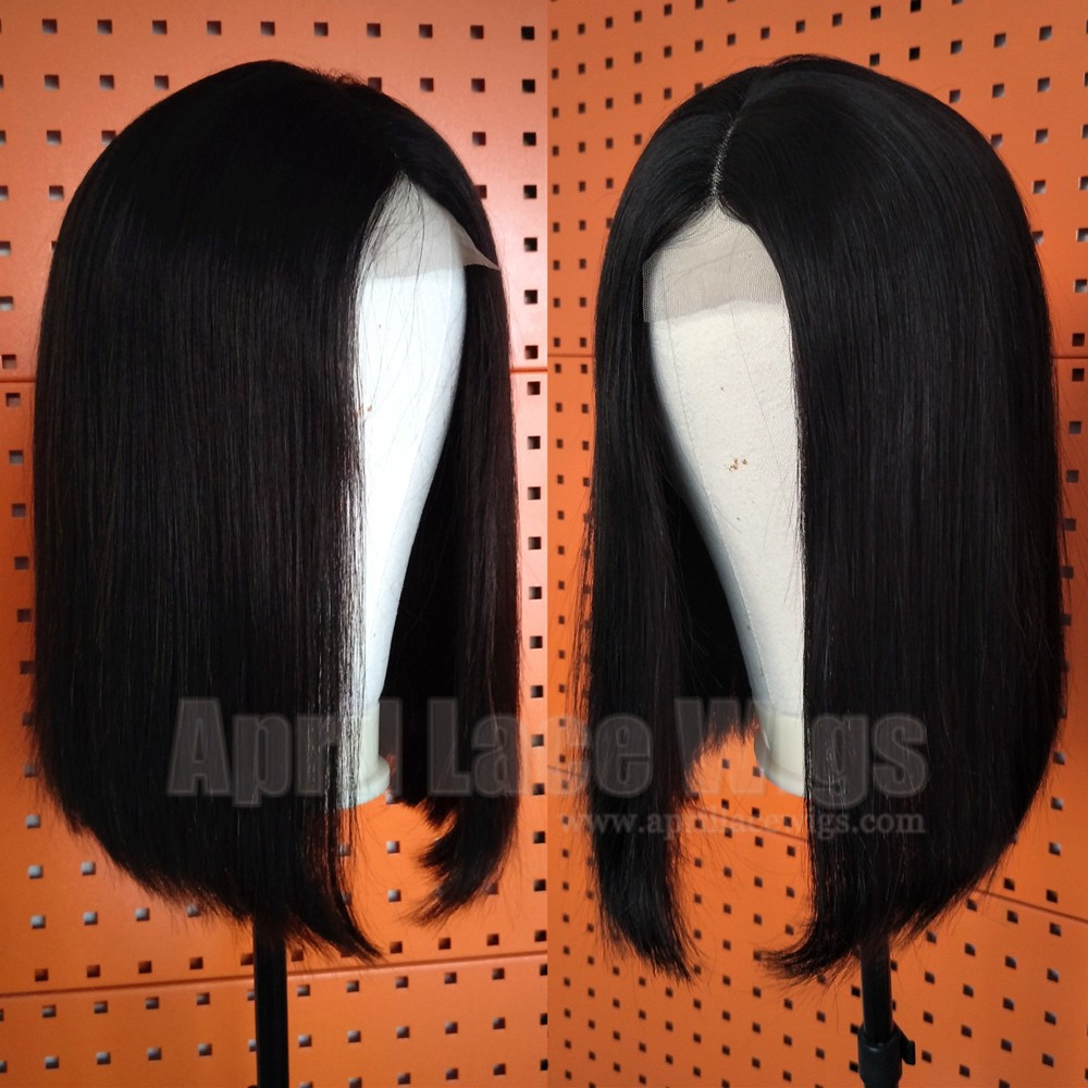 Blunt cut bob closure wig, lace front wig