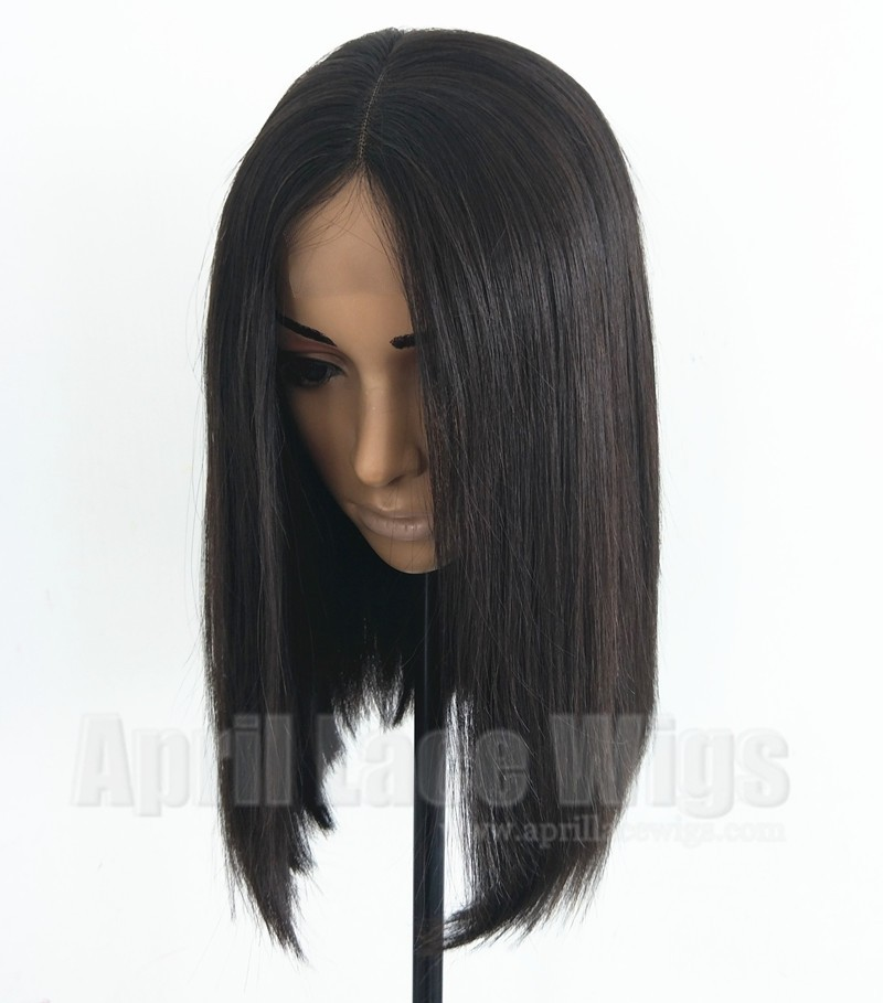 Brazilian virgin natural color blunt cut bob lace front wig
