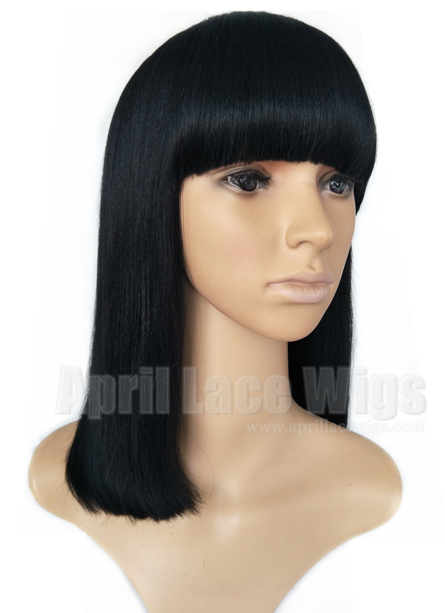 Remy hair blunt cut bob no lace machine made wig with a bang