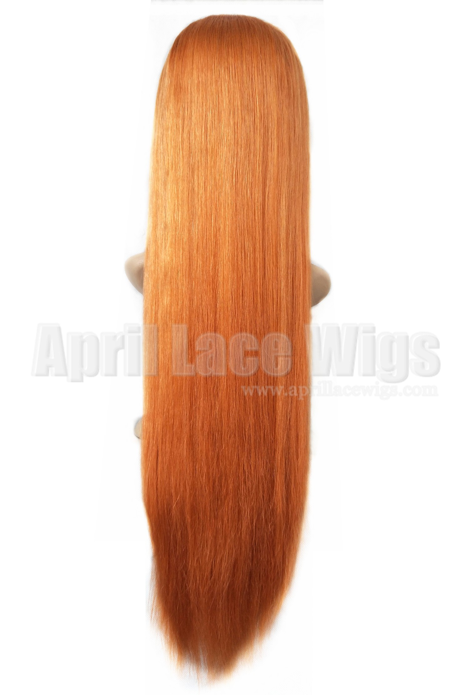 Virgin hair orange color glueless lace front wig