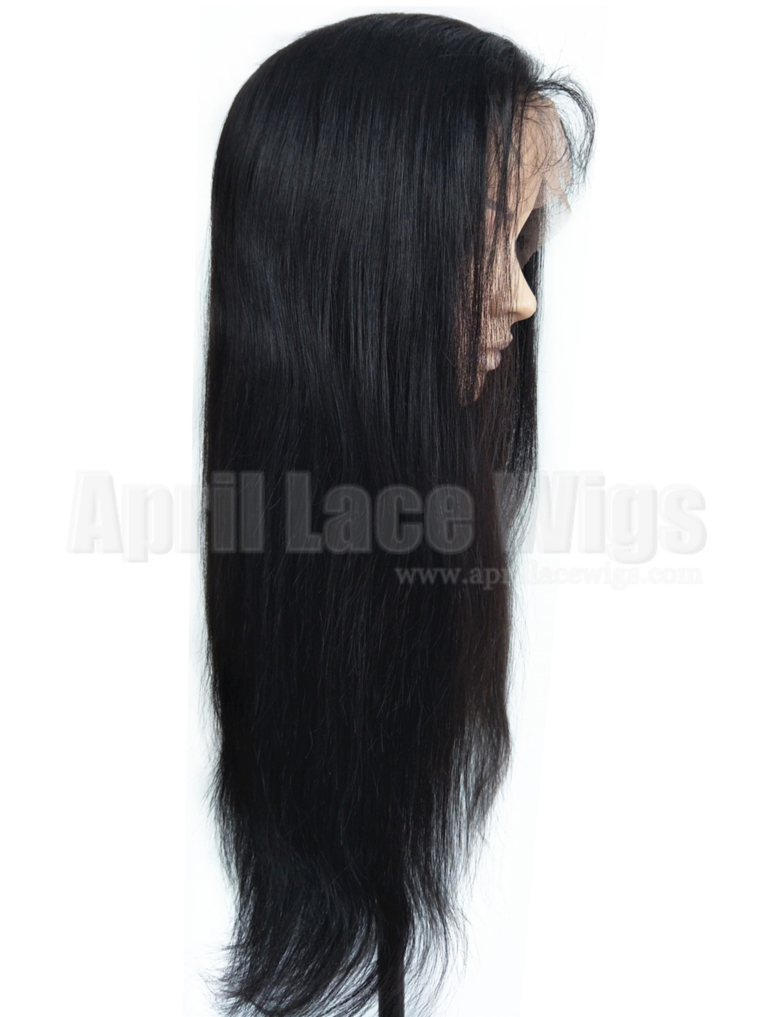 natural straight glueless lace front silk top wig