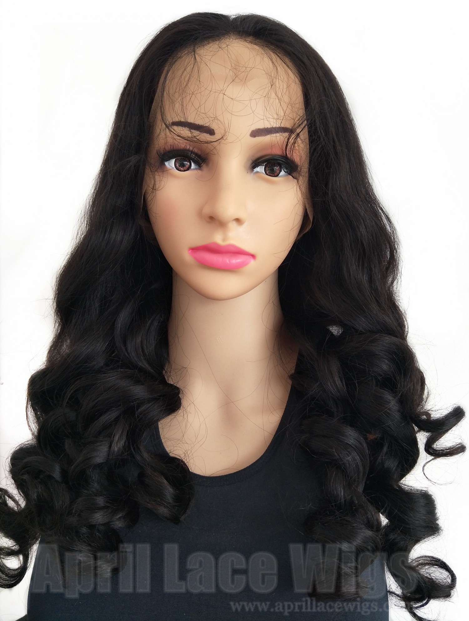Brazilian virgin human hair loose ocean wave 150% density full lace wig with preplucked hairline