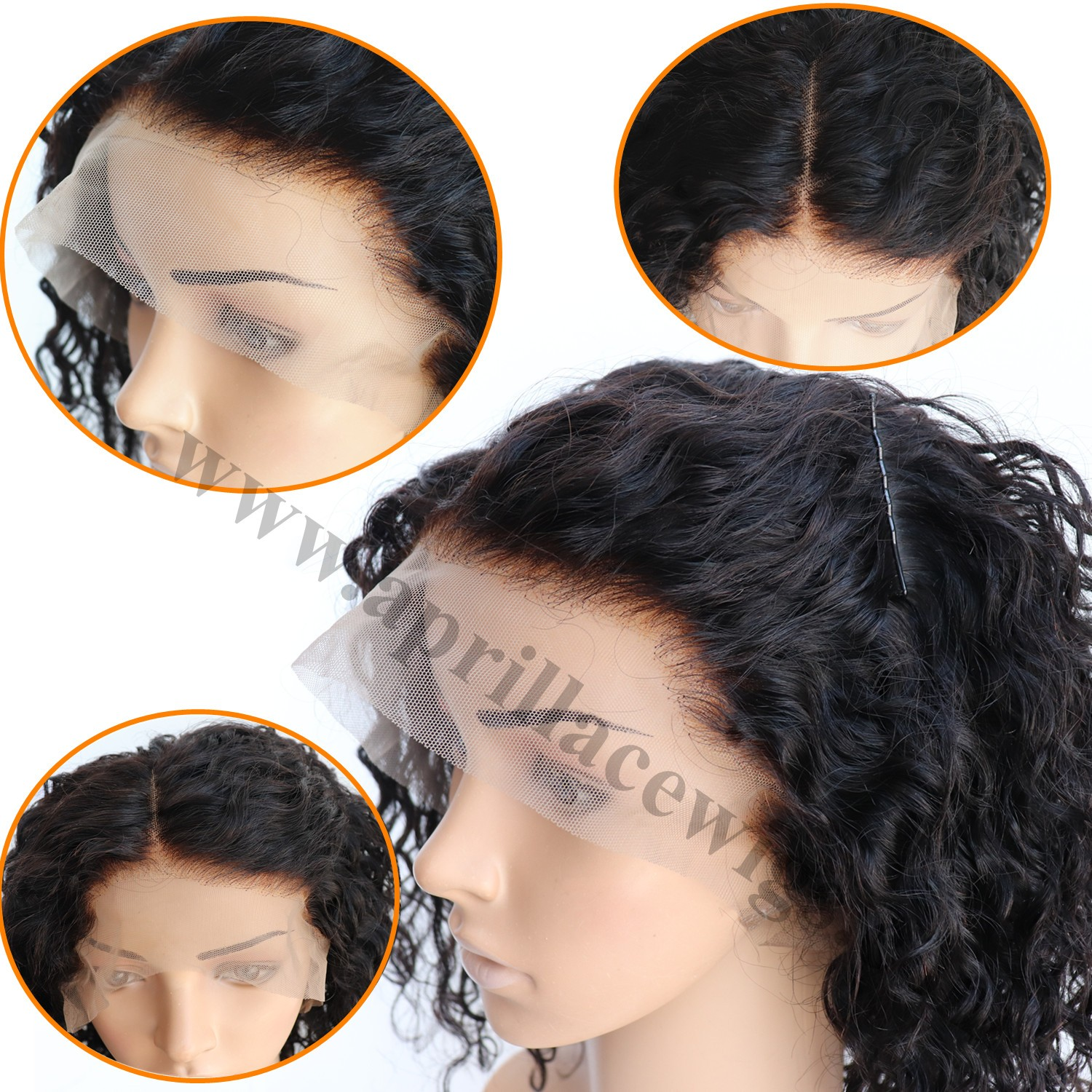 Mongolian virgin deep curly bob 360 wig