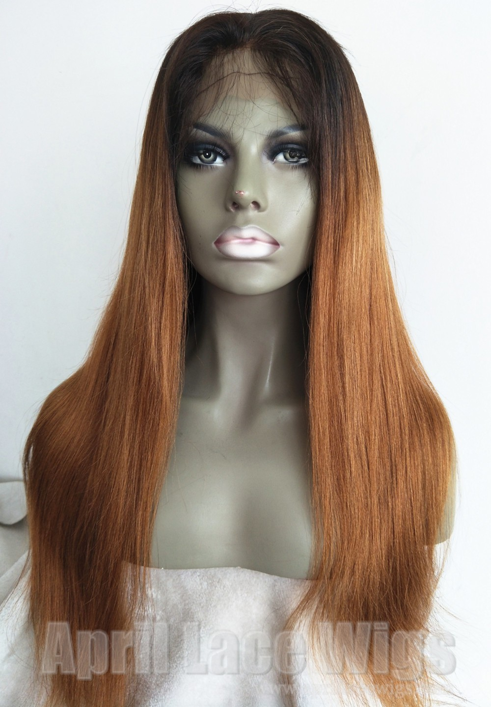 Ombre color virgin human hair light yaki glueless full lace wig with silk top