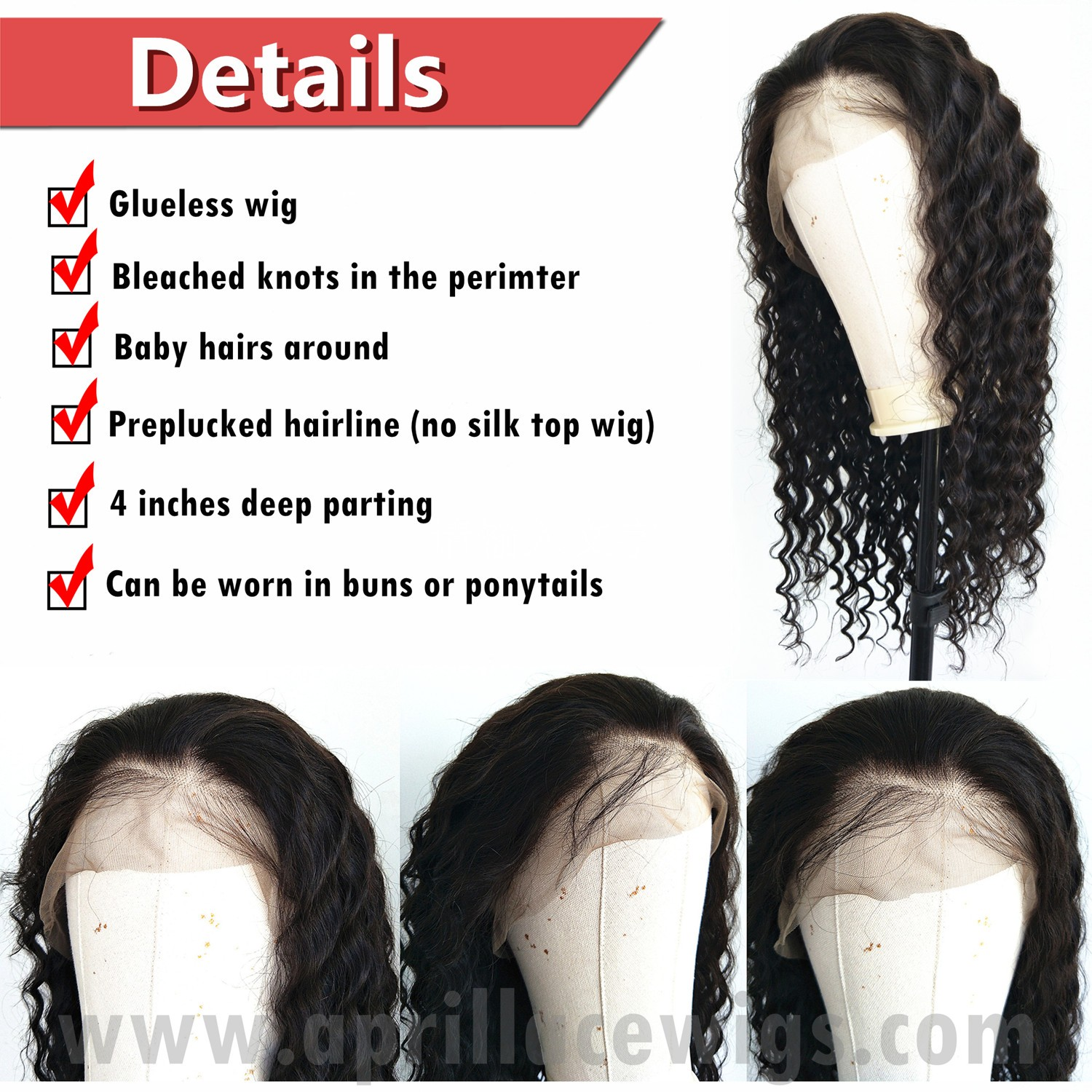 deep wave Brazilian virgin glueless 360 lace wig preplucked hairline