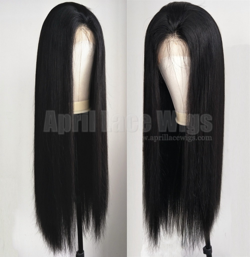 Brazilian virgin 150% density glueless 6 inches lace front wig preplucked hairline