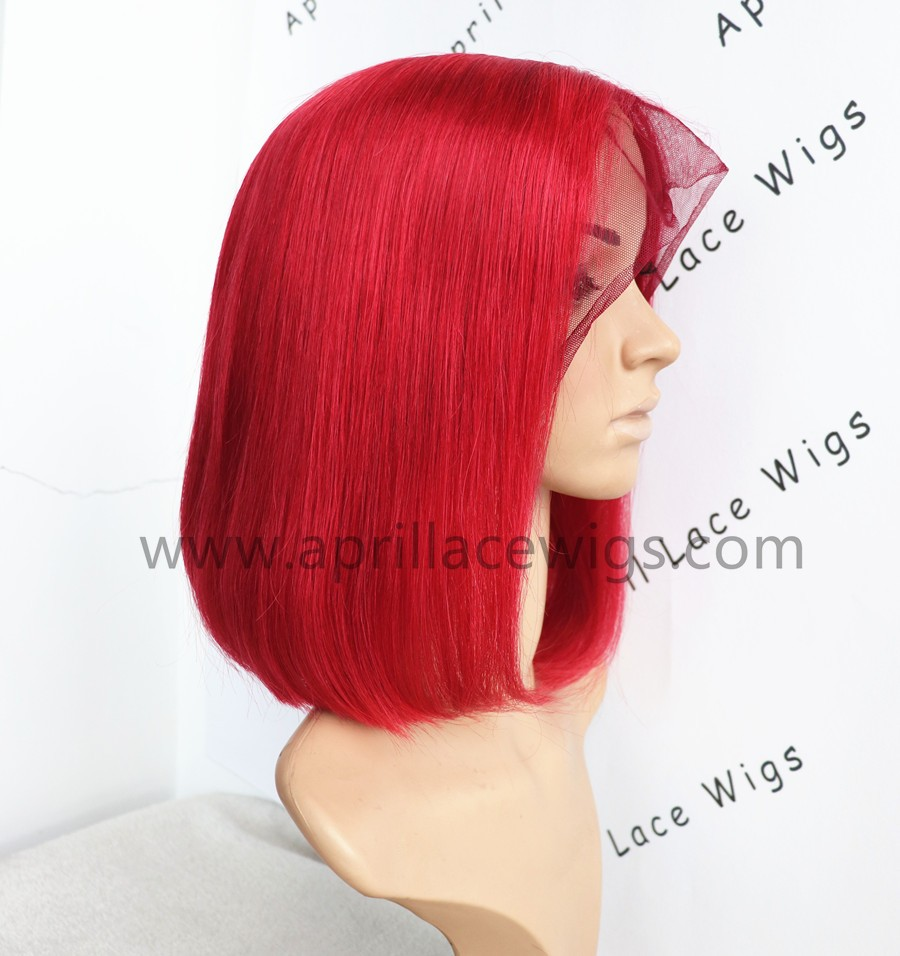 red bob lace wig, glueless wig, red lace front wig