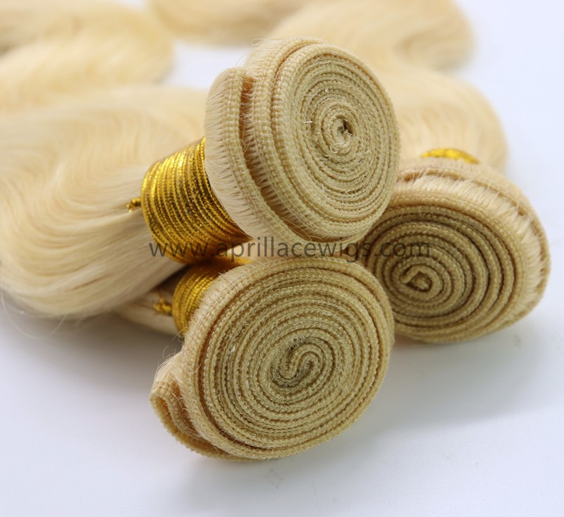 3 bundles color 613  blonde virgin human hair wefts