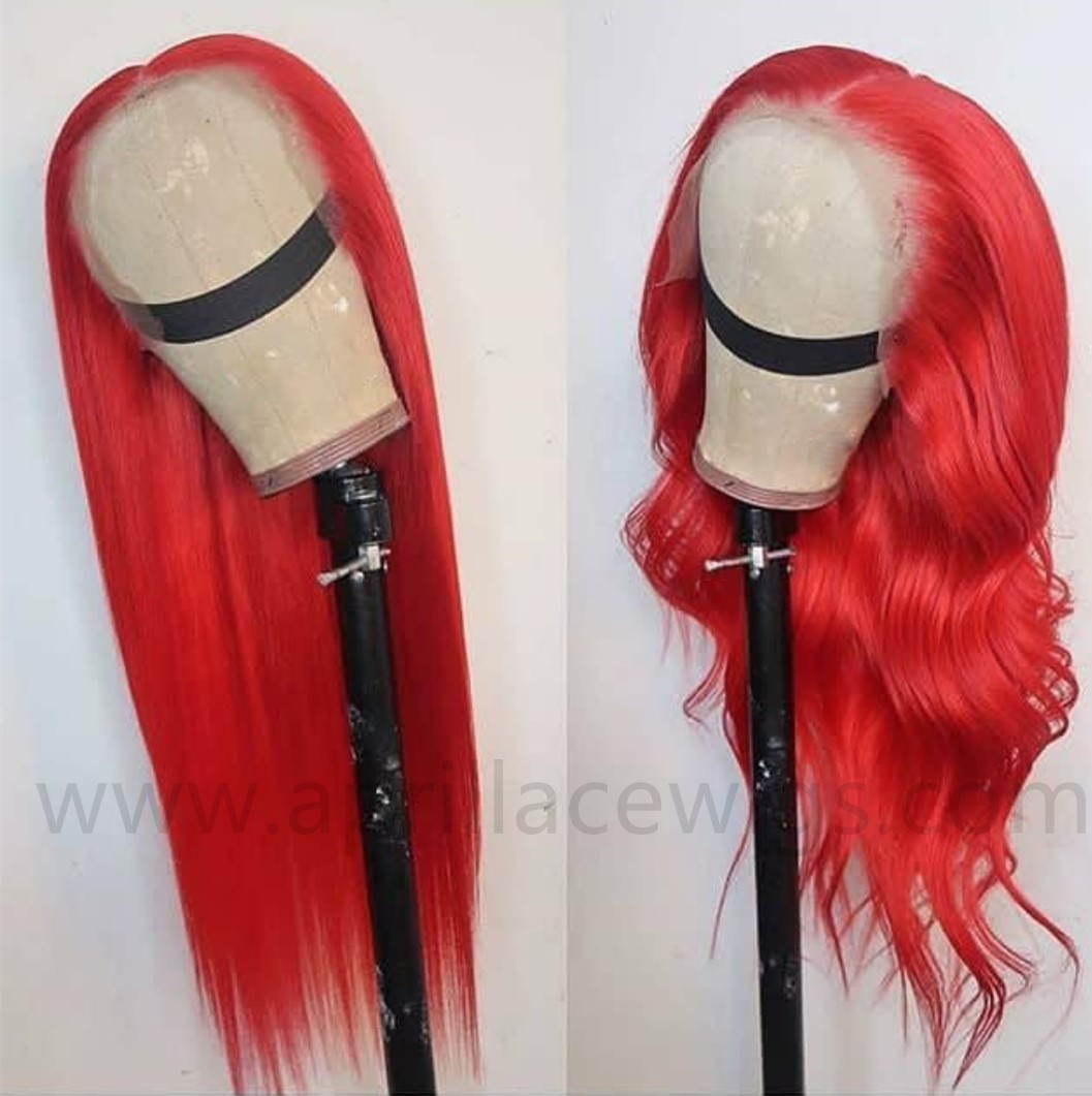 Malaysian virgin red color 360 lace wig