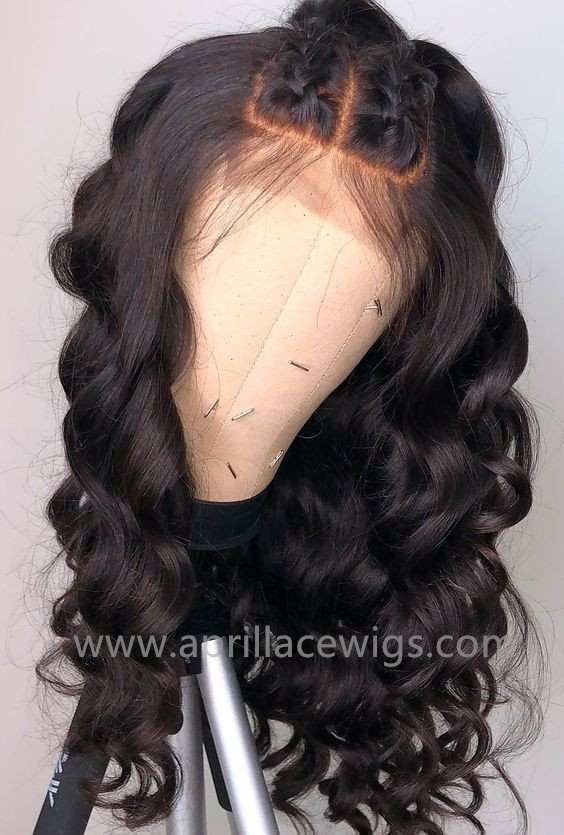 Brazilian virgin ocean wave glueless 360 wig