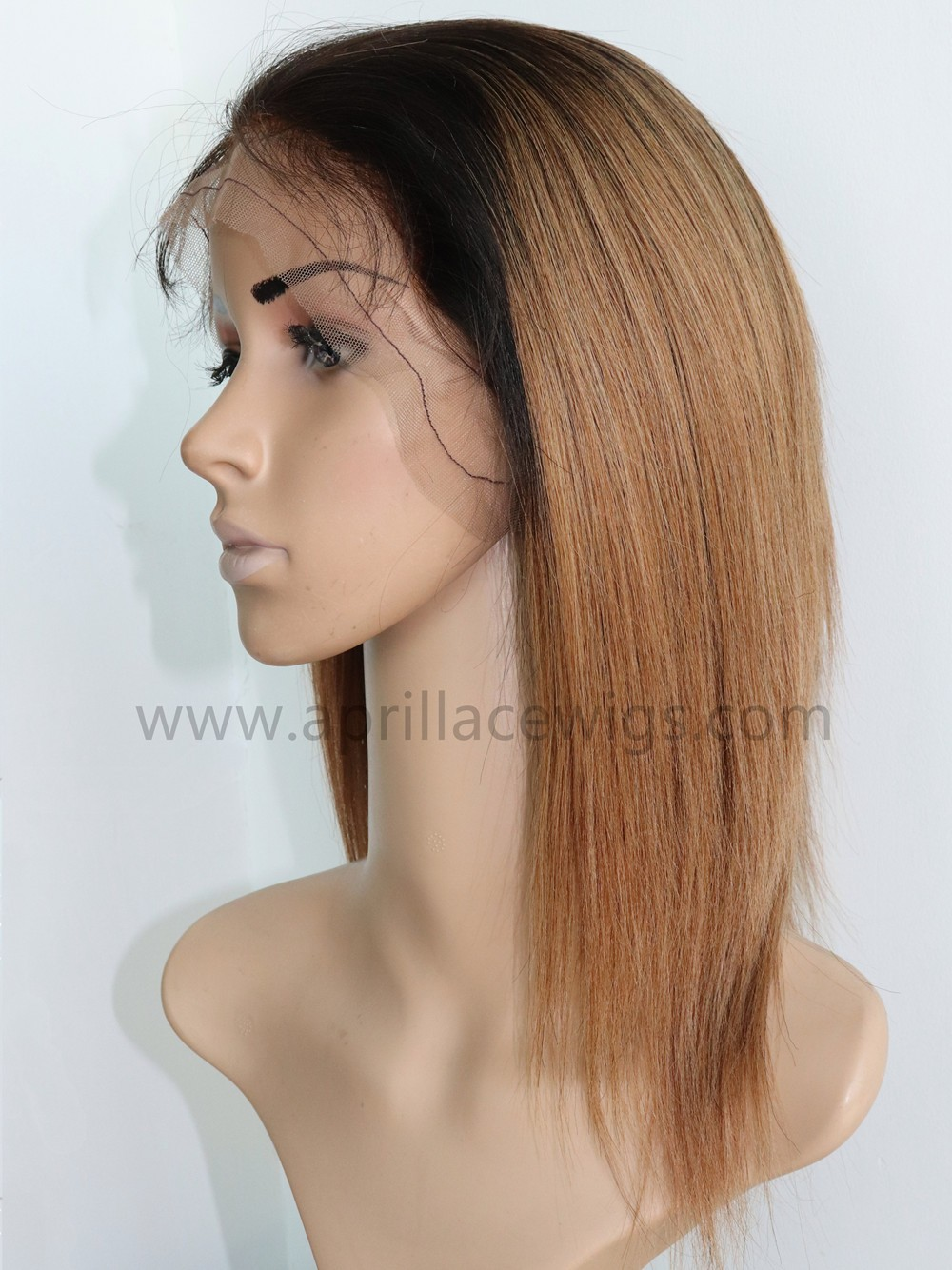 10 inches virgin hair light yaki glueless full lace wig with silk top