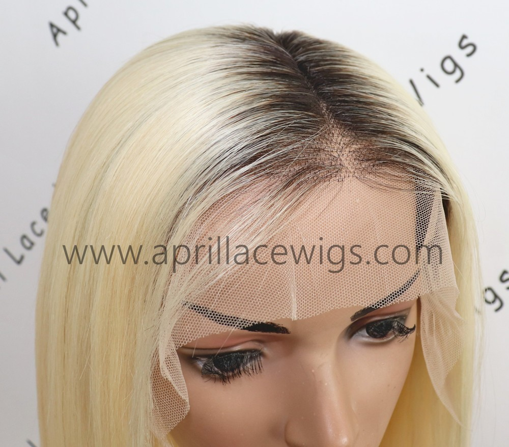 Virgin blonde lace front wig bob hair with dark roots 150% density preplucked hairline