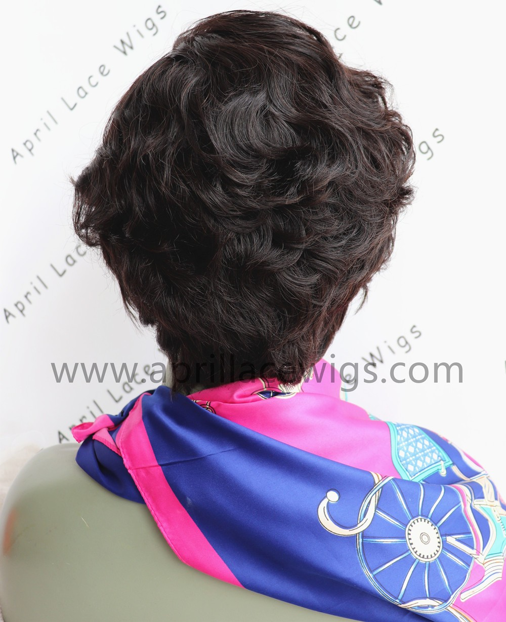 Virgin hair short cut glueless 13*6 lace front wig preplucked hairline