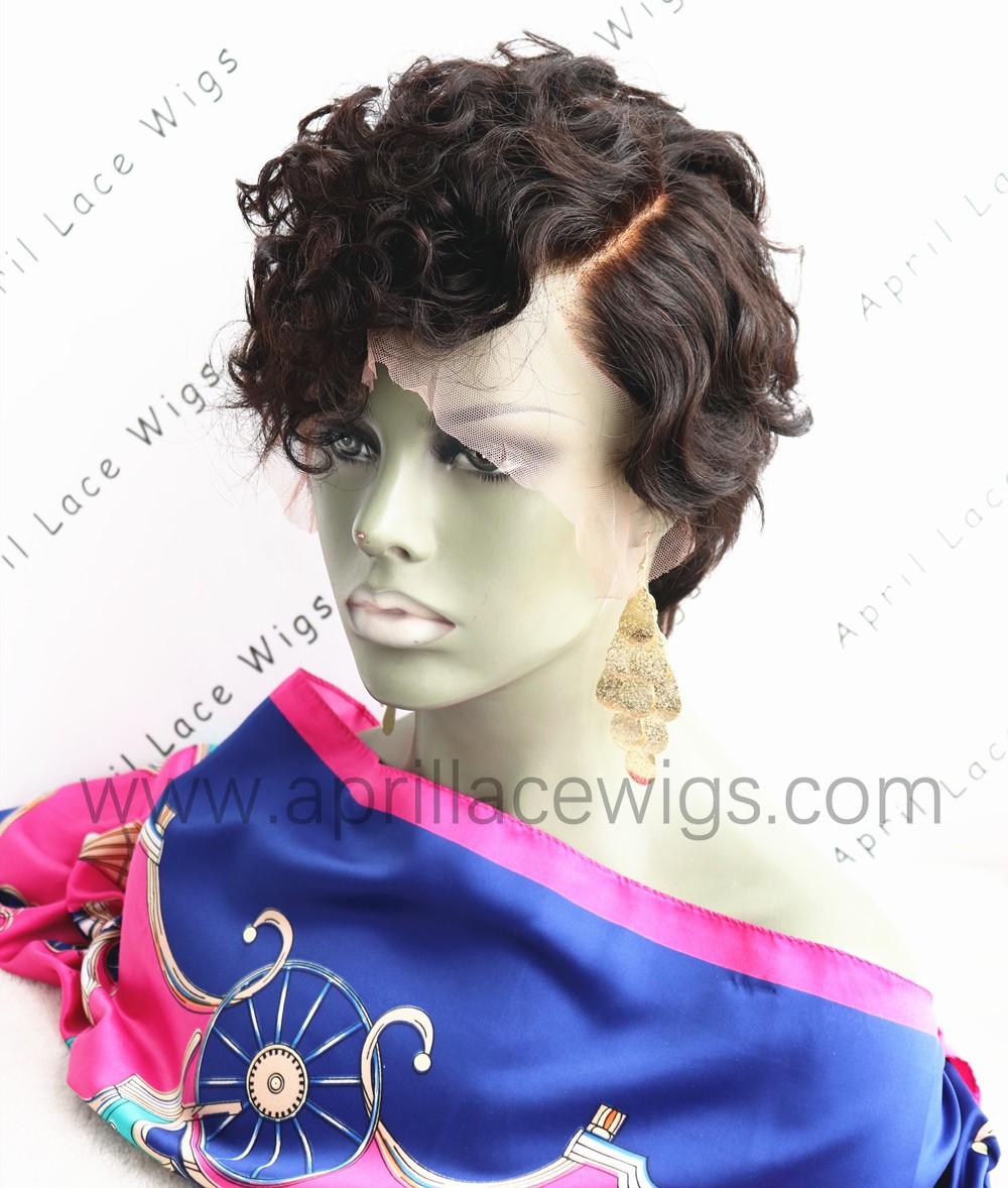 Virgin short cut 150% density glueless 6'' lace front wig preplucked hairline