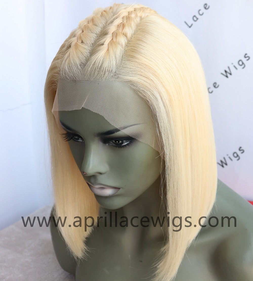 Color 613 blonde glueless lace front wig bob cut preplucked hairline
