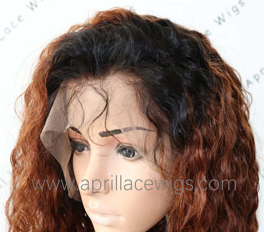 Virgin hair dark roots ombre brown glueless 360 wig preplucked hairline