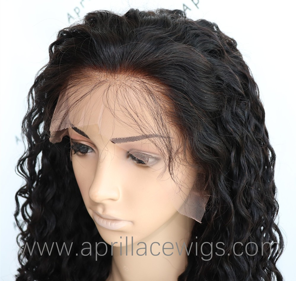 Deep curly 6'' deep parting glueless lace front wig 150% density preplucked hairline