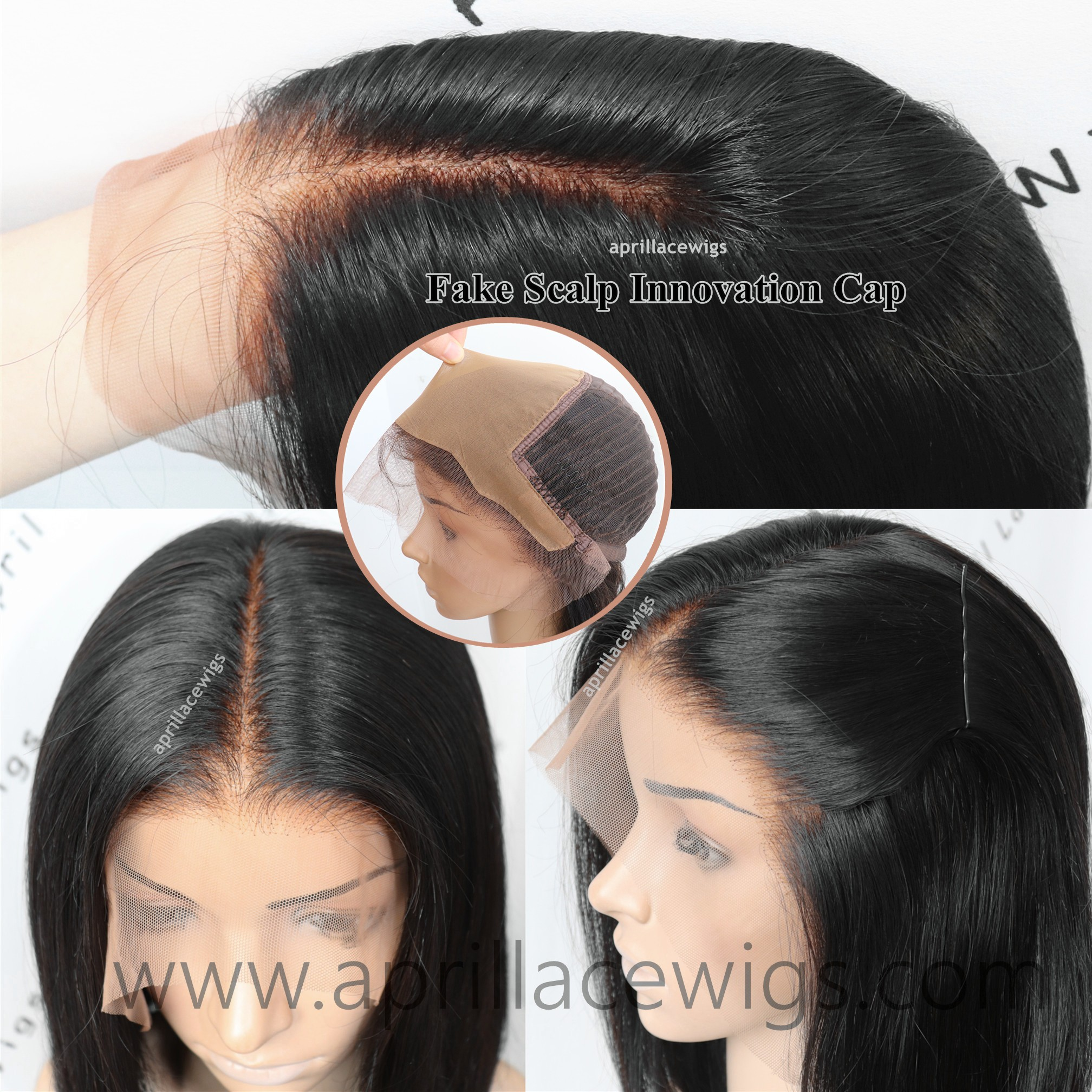 Fake scalp innovation cap virgin hair glueless 13x6 lace front wig preplucked hairline