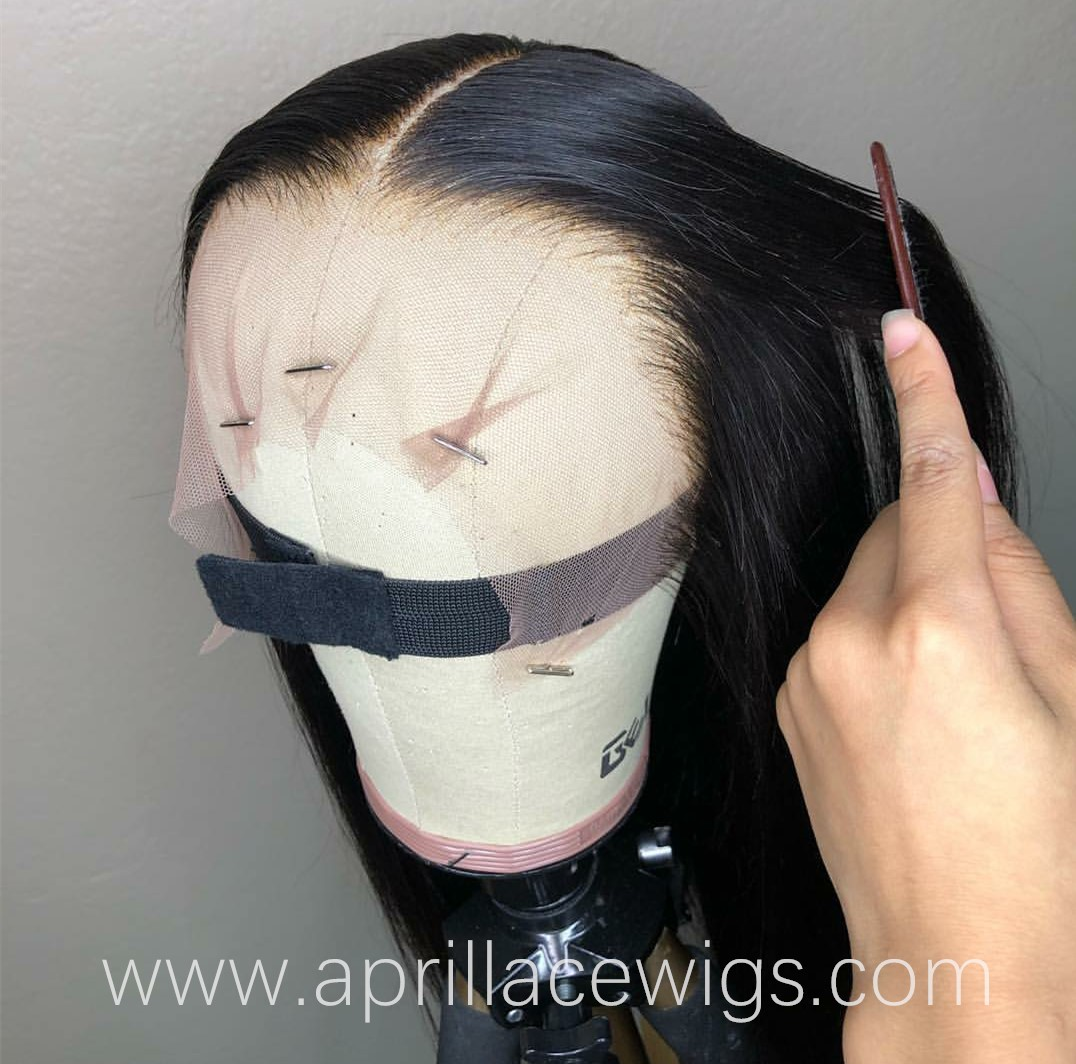 HD lace front glueless wig 10A+ grade virgin hair 6 inches deep parting preplucked hairline