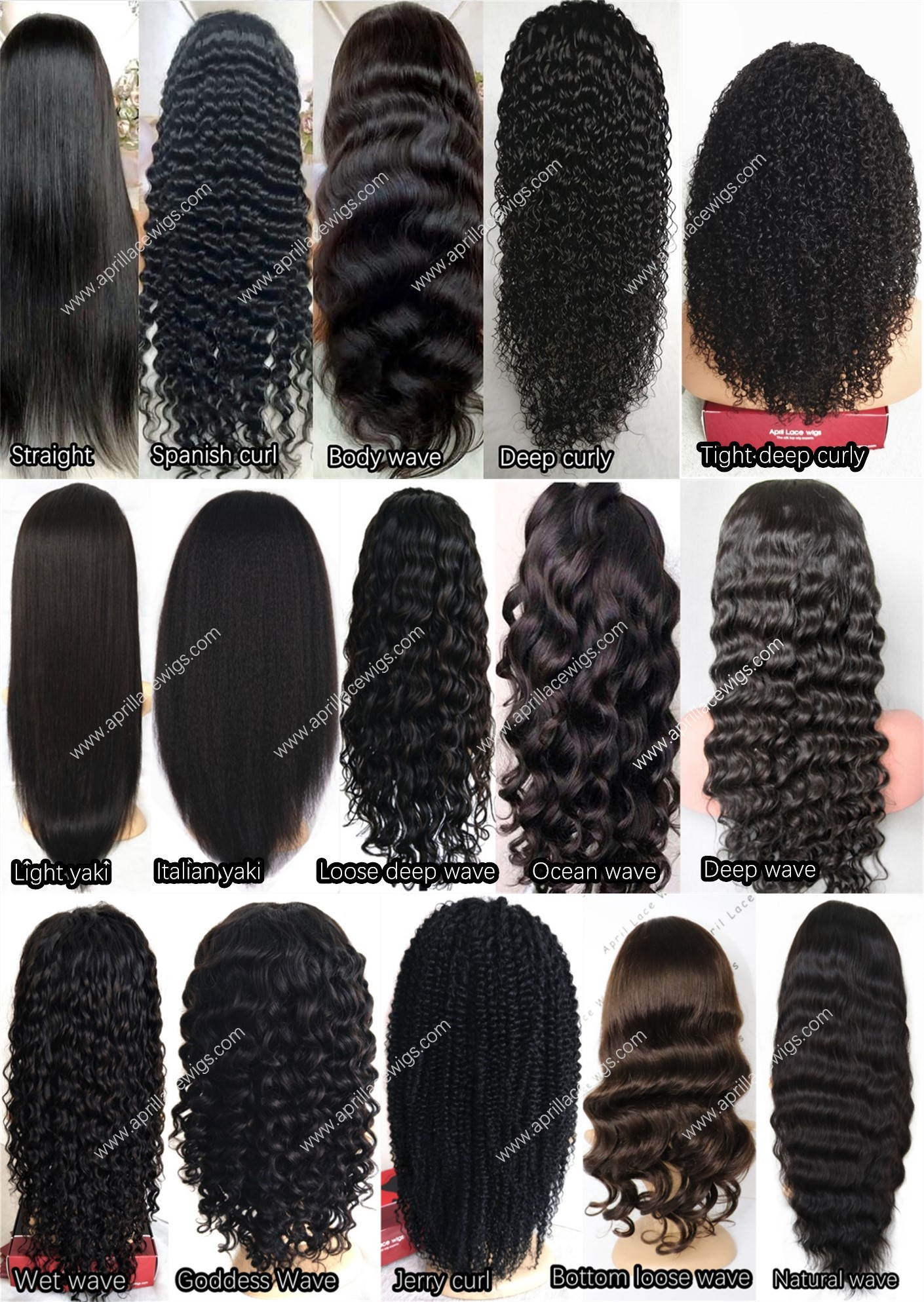 HD lace wig hair texture chart