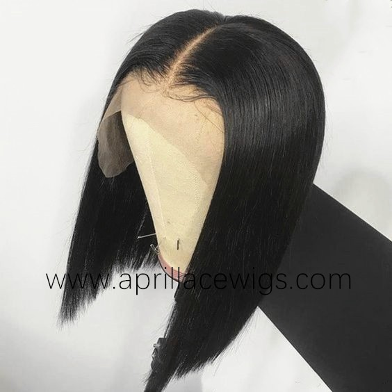Virgin human hair glueless 13x6 lace front bob preplucked hairline