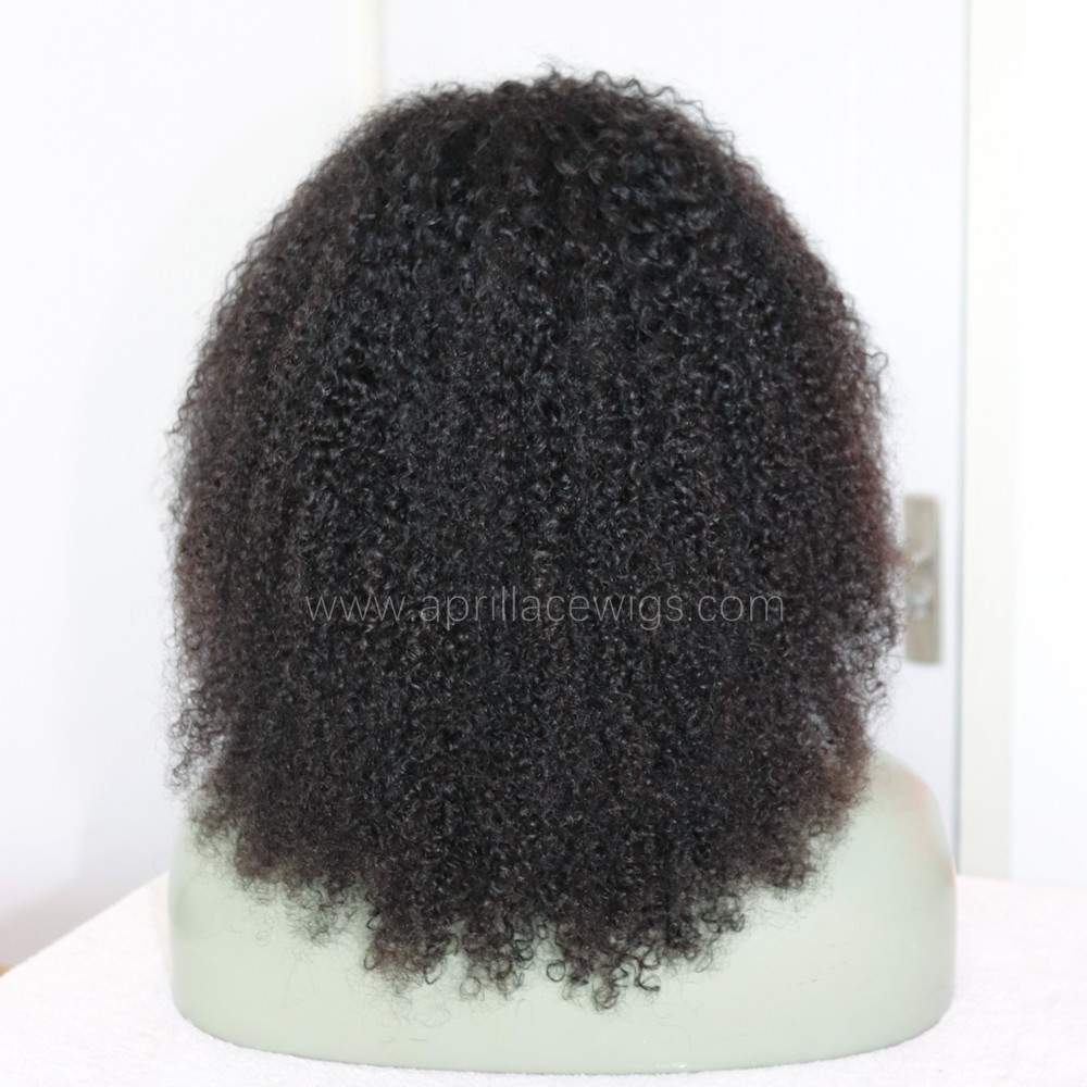 Virgin human hair messy curl glueless 360 wig preplucked hairline