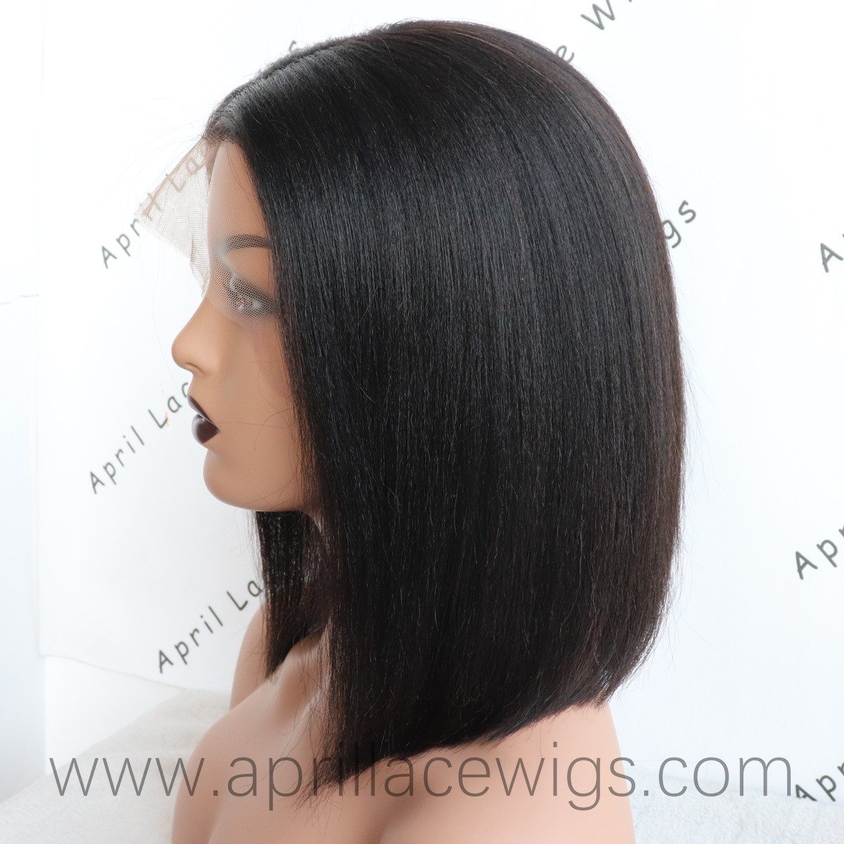 Coarse kinky straight 13x6 lace front wig bob lace wig
