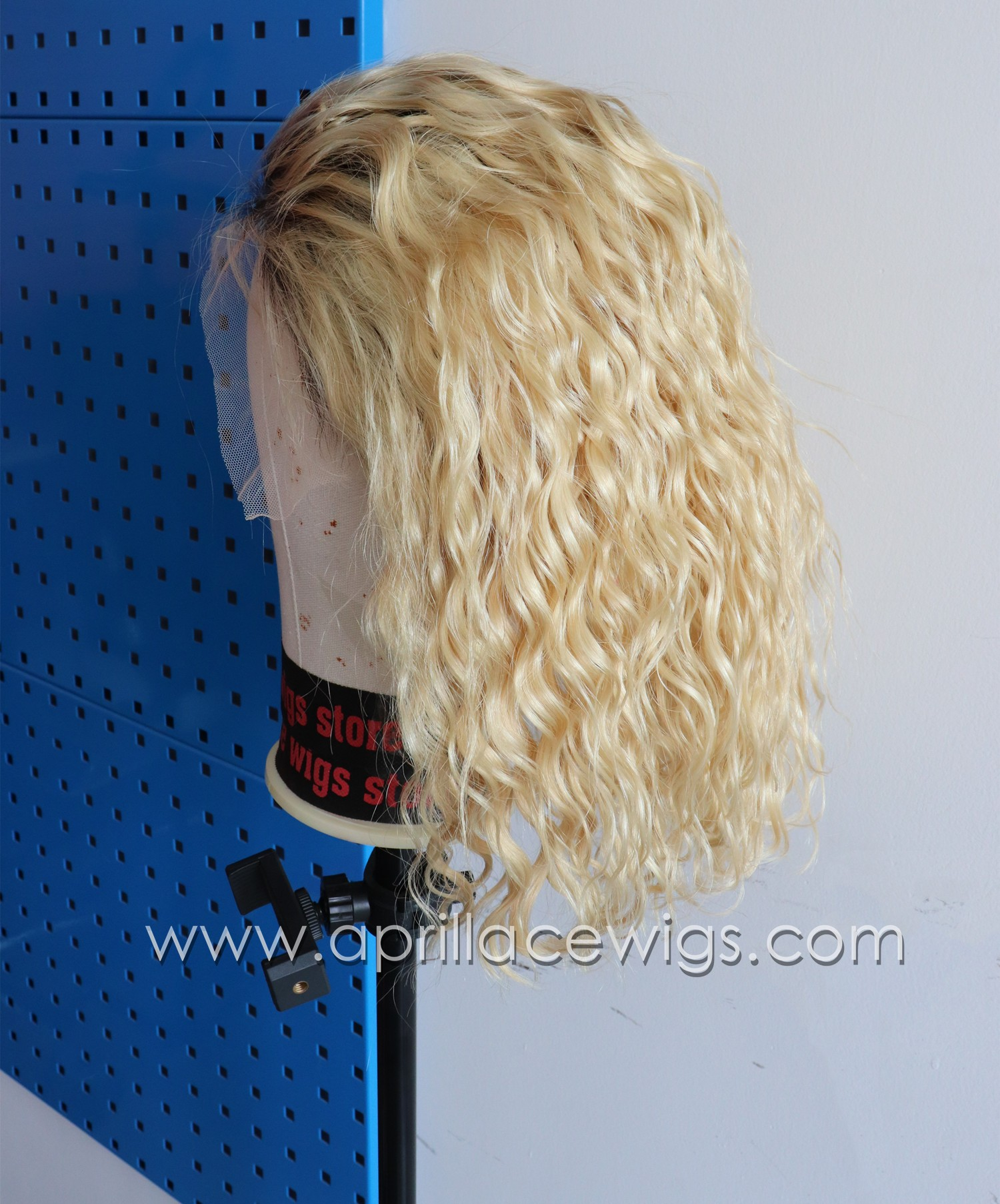 Blonde wavy glueless lace front wig bob lace wig preplucked hairline