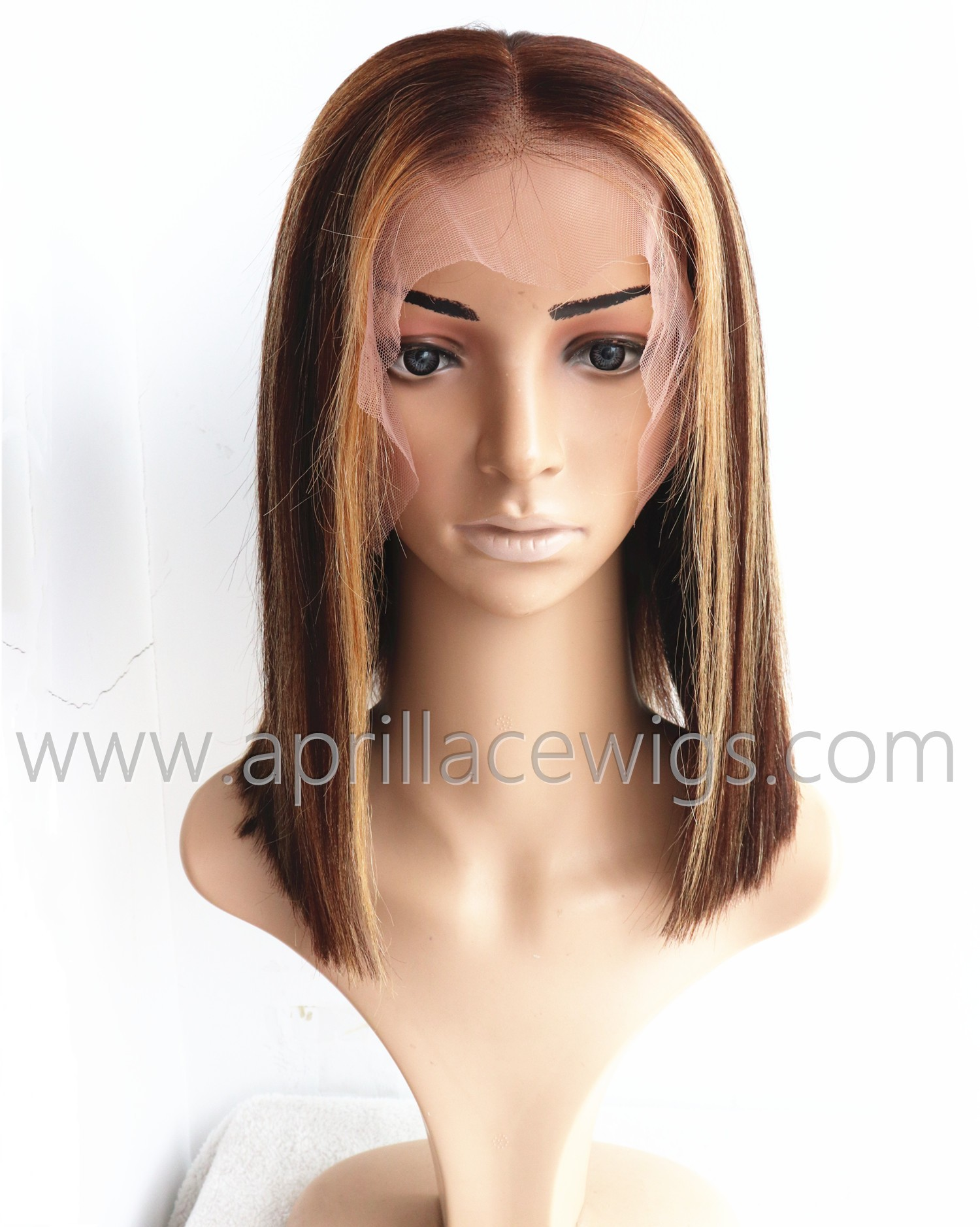 color 4 with 27 highlight brown 13x6 lace front wig 150% density bob lace wig