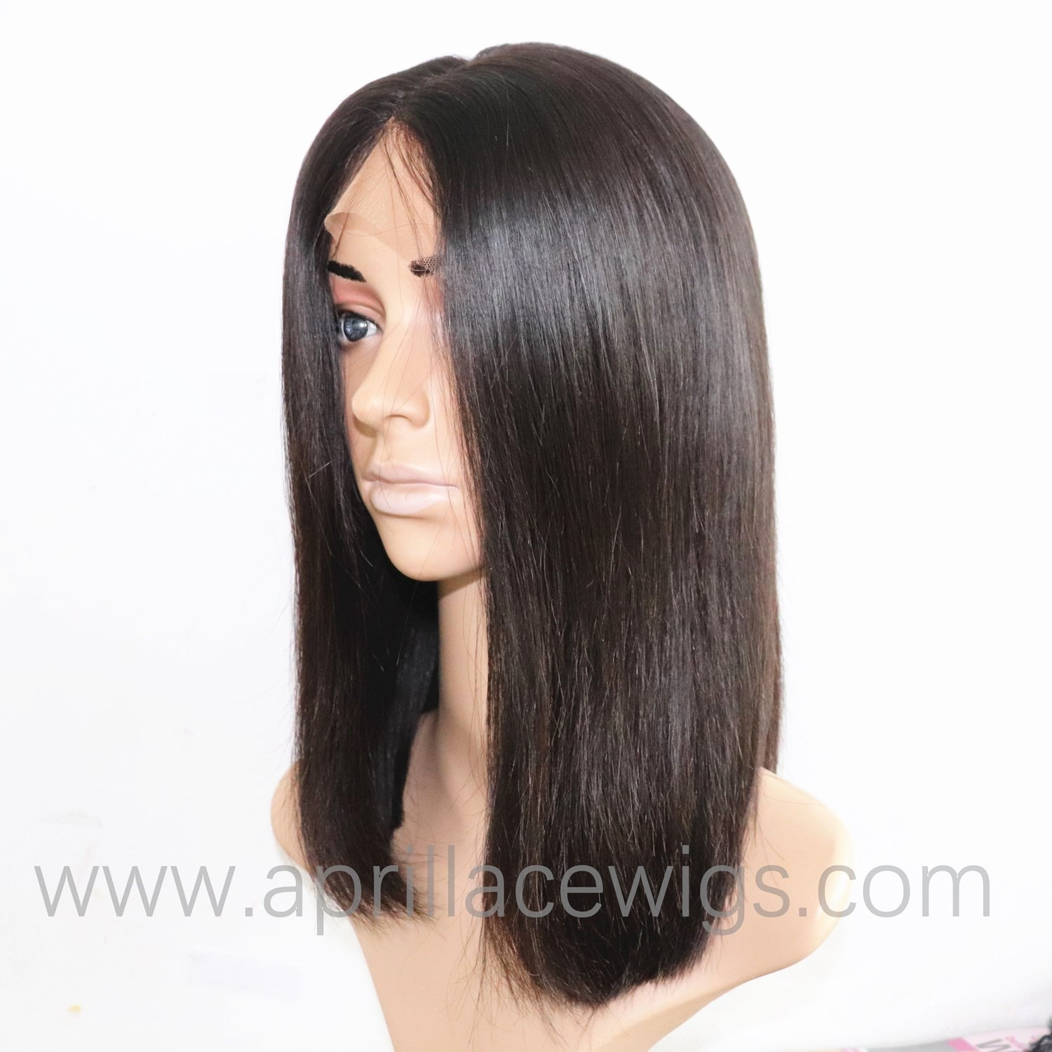 Virgin Human Hair 150% density Silk Top Closure Wig Bob Cut Natural Color