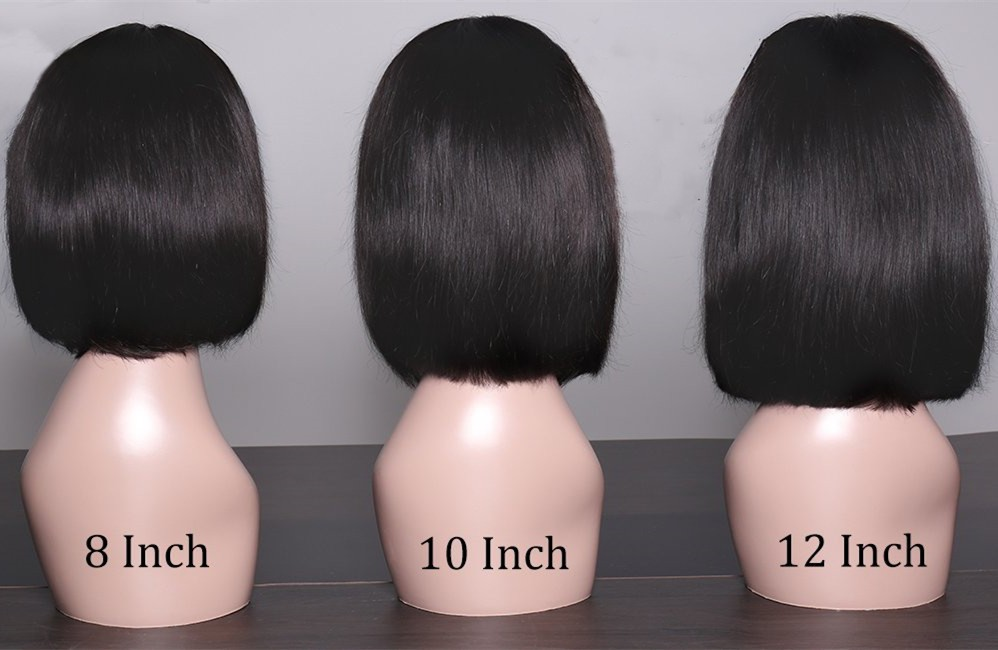 8 inches 150% density Virgin Hair short bob straight 13x6 Lace Front Wig